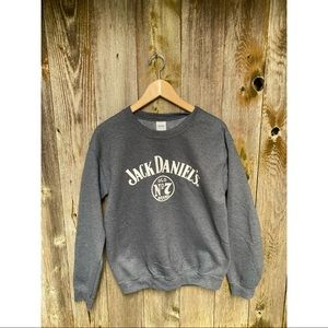 JACK DANIELS print grey&white crewneck sweater size small